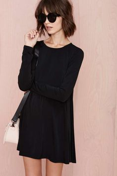 Full Swing Dress - Black - Day | LBD | Shift | Basic | Mod | Fall Of The Wild