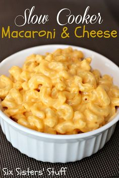 Creamy Macaroni and Cheese  (2 hours)  2 cups uncooked elbow macaroni  4 tablespoons butter  2 1/2 cups grated sharp cheddar cheese  1/2 cup sour cream  1 (10.75 oz) can condensed cheddar cheese soup  1/2 teaspoon salt  1 cup milk (I used 1%)  1/2 teaspoon dry mustard  1/2 teaspoon black pepper