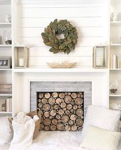 If you are looking for Modern Farmhouse Fireplace Mantel Decor Ideas, You come to the right place. Below are the Modern Farmhouse Fireplace M. Fireplace Mantle Designs, Farmhouse Fireplace Mantels, Home Fireplace, Fireplace Surrounds, Fireplace Modern, Diy Faux Fireplace, Small Fireplace, Scandinavian Fireplace, Faux Mantle