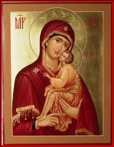 Holy Mother of God hand painted icon by Peter Dzyuba.