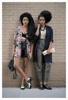 "Takenya (aka the electronic singer-songwriter TK Wonder) and Cipriana Quann,""Style Stars"" via: W Magazine (October Issue ""The New Royals"") Photos: Joey Rosado Fashion Moda, Star Fashion, Look Fashion, High Fashion, Black Girls Rock, Black Girl Magic, Mode Style, Style Me, Quann Sisters"