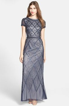 I would like to thank the producers of Downton Abbey for their influence on American fashion, which so badly needed a shot of elegance and dignity. Adrianna Papell Beaded Mesh Gown | Nordstrom