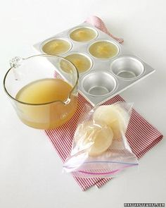"""Freeze unused stock or a homemade batch in muffin tins. Pop frozen portions out of tin; store them in resealable plastic bags labeled with the date (frozen stock keeps for about two months). From """"The Martha Stewart Show"""" Freezer Cooking, Freezer Meals, Cooking Recipes, Easy Cooking, Cooking Hacks, Quick Recipes, Crockpot Recipes, Kitchen Time, Kitchen Hacks"""