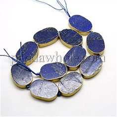 Oval Natural Lapis Lazuli Beads Strands, Dyed, 30x20x7mm, Hole: 1mm; about 11pcs/strand, 14.4