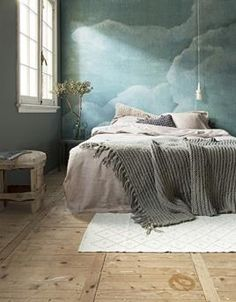Bedrooms: Bedroom With Bright Blue Cloud Wallpaper - 15 Soothing Bedrooms That Take Inspiration from the Clouds.