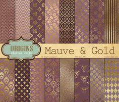 Mauve and Gold Digital Paper by Origins Digital Curio on @creativemarket