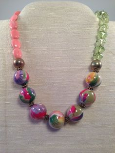 Bright Floral Bead Necklace, Beads, Brights, Pink, Floral on Etsy, $25.00