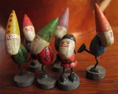 This special group of wooden gnomes came from my husband's family. I love unpacking them at Christmas time because they look ready to jump out of the box, like northern European versions… Swedish Christmas, Antique Christmas, Christmas Time, Christmas Crafts, Homemade Christmas, Merry Christmas, Antique Toys, Vintage Toys, Oldschool