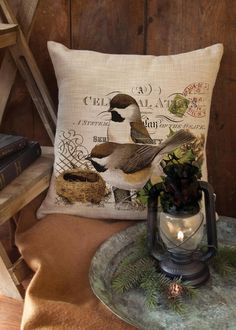 Winter Garden Chickadees Pillow Cover   Heritage Lace