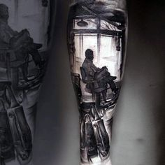 Realistic Barber Shop Tattoo On Mans Forearm