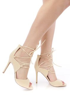 9b558aafc335 Nude Lace Up Open Toe Single Sole High Heels Faux Suede