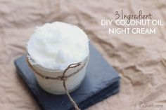 This DIY coconut oil night cream is hydrating and so easy to make. All you need are 3 ingredients, a hand mixer or a whisk and some elbow grease.