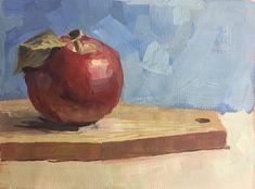 Apple still life gouache painting by Anastasia Zimina