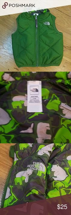 North face infant vest Olive green 6-12 month North Face vest. My daughter wore it once but it wasn't really the weather for it and then came summer time as she grew out of it and then it was tossed in the closet to never be worn again. North Face Jackets & Coats Vests