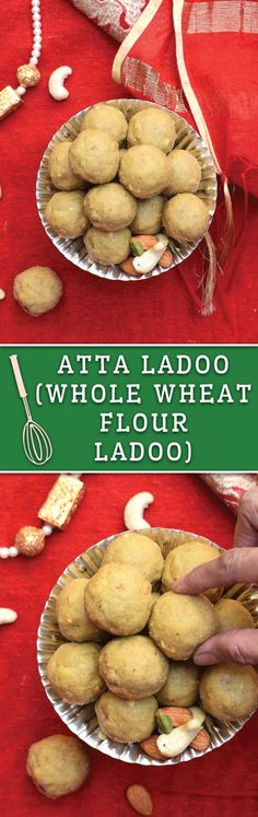 Atta Ladoo - No BAKE sweetened Whole Wheat Flour Laddo (Balls) with nuts. A perfect after workout treat and makes for a delicious healthy dessert!