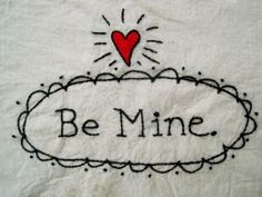 Be mine + <3 pattern. Free download from Bad Bird blog
