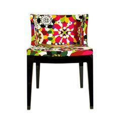 Lovely upholstered plastic chair designed by Philippe Starck for Kartell.