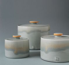 Gray and orange lidded jars, to 4 in. (11 cm) in height, wheel-thrown porcelain, slip, glaze, 2010