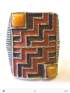 Fahrner coral and red enamel ring