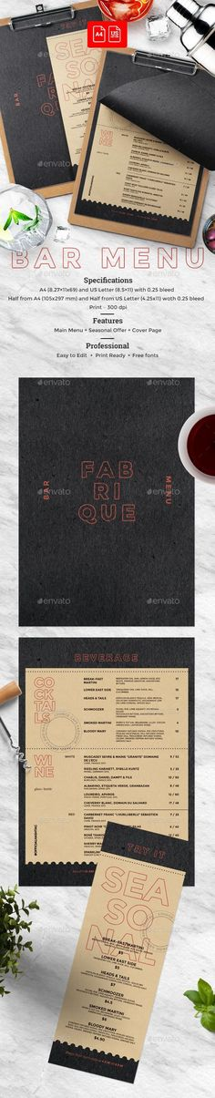 Drinks Menu - #Food Menus #Print #Templates Food Menu Templates - bar menu template