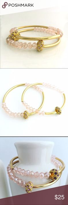Set of 2 Pink Glass Bead Adjustable Bracelets Feminine pink glass beads, circle charms with rhinestones, gold bars and more.  This set of 2 bracelets can make one perfect gift or 2!  Simple romance and more! Jewelry Bracelets