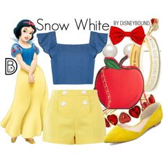 Snow White by leslieakay on Polyvore featuring Boutique Moschino, Marc Fisher LTD, Disney Couture, Liz Claiborne, Honora, disney and disneybound