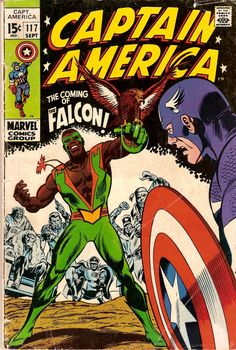 The Falcon, mainstream comics' first African-American superhero, was introduced in Captain America #117 (Sept. 1969).