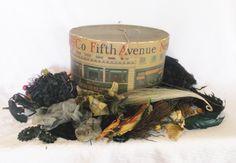 Antique Dobbs Hat Box Full Of Millinery by MyVintageHatShop