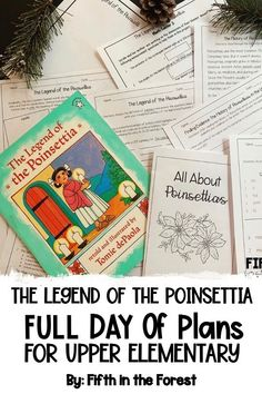 This product is a FULL DAY of lesson plans for The Legend of the Poinsettia by Tomie dePaola. You'll receive a lesson for reading, writing, math, science, social studies, and a craft/hallway display! Use easily in small groups, whole group instruction, read alouds, literature circles, novel studies, and more! These make great sub plans, literacy days, etc. #readaloud #readingteacher #iteachreading #upperelementary #thelegendofthepoinsettia #tomiedepaola #christmaslessons #christmasclassroom