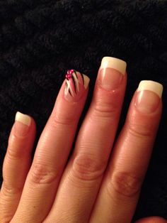French manicure with pink accent