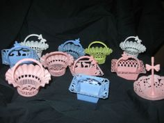 Vintage Plastic party or shower favor Candy or Nut cup Holders basket; I had the pink umbrellas (the one on the far right)