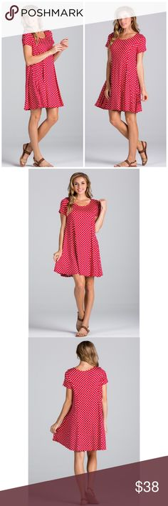 Polkadot Swing Dress Little red and white polka dot swing dress. So cute for a casual spring/summer look. Pair with little white sneakers, sandals or heels. Or wear like a tunic with white leggings. Made of rayon and spandex. Threads & Trends Dresses
