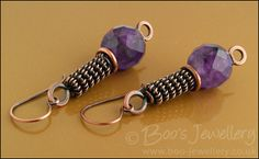 Antiqued copper and amethyst rope earrings