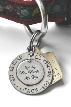 Not All Who Wander Are Lost pet tag  Not All door LauriginalDesigns