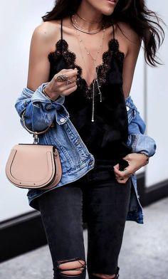 spring outfit_denim jacket bag lace v neck top rips