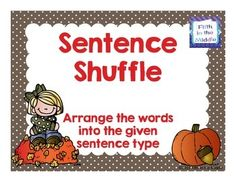 In this engaging fall activity, students arrange six words to create one of four sentence types.This is a sampling of my {Fabulous Fall - ELA Centers for Upper Elementary}.Find more ELA centers {here}.