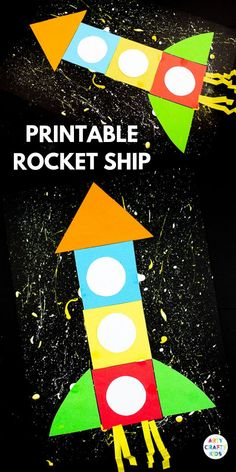 Printable Rocket Ship for Kids - Arty Crafty Kids Preschool Rocket, Preschool Crafts, Preschool Transportation Crafts, Preschool Shapes, Space Crafts For Kids, Art For Kids, Kids Crafts, Creative Activities For Children, Simple Crafts For Kids