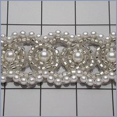 6 YARDS of Silver Beaded Crystal and Pearl Trim by allysonjames, $114.98