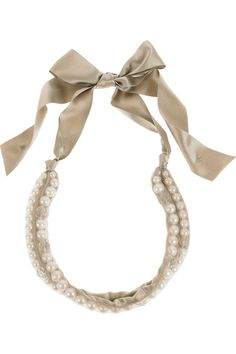 double row of pearls on a  mesh covered double-face silk satin ribbon