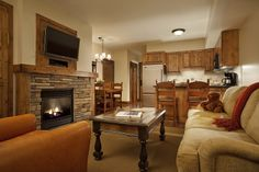 Cozy apartments accommodate bigger groups and families at Teton Mountain Lodge in Jackson Hole, WY
