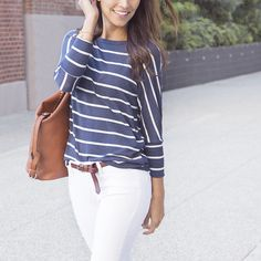What's the solution to all weekend wardrobe woes? A soft, knit striped tee! Be ready for weekend errands (or relaxation) in this comfy, classic look. Complete it with a half-tuck, white denim and cognac accessories. Love this outfit? Ask your Stitch Fix Stylist to include classic-casual pieces in your next delivery!