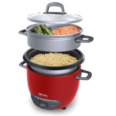 6-Cup (Cooked)  (3-Cup UNCOOKED) Pot Style Rice Cooker and Food Steamer, Red