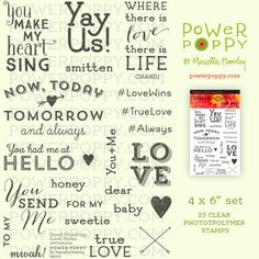 Good Thinking: Love Notes clear polymer stamp set by Marcella Hawley, with 23 stamps for cardmaking and papercrafting with a love theme for Valentine's Day, Weddings, Anniversaries, or just because love rules.