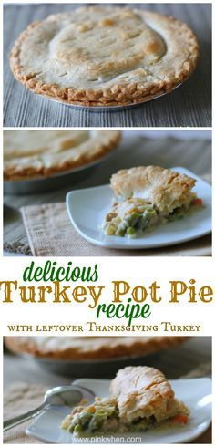 Turkey Pot Pie recipe - made with leftover Thanksgiving turkey + other ingredients you might have leftover from the holiday