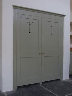 Custom built larder doors with traditional fretwork cut-outs in the top panels. Shown here finished in Farrow & Ball French Gray These doors were built to conceal an existing built-in alcove Kitchen Larder, Kitchen Base Cabinets, Larder Cupboard, Kitchen Cupboard Doors, Kitchen Redo, Kitchen Ideas, Front Door Farrow And Ball, Farrow And Ball Kitchen, Pine Bedroom Furniture