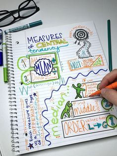 mean median mode and range with visual doodle notes for interactive notebook