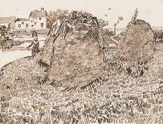 Vincent van Gogh: Haystacks near a Farm  Arles: c. 17 July 1888 (Budapest, Szépmüvészeti Museum)