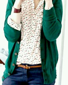 Green, button-down cardigan over a floral print top