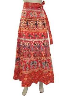 Amazon.com: Bohemian Wrap Around Skirt Red Wrap Skirt, Gypsy Sarong Skirts Indiatrendzs: Clothing