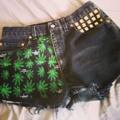 Hail Maryjane Black Cannabis HIgh Waist Vintage Levi Shorts. $39.00, via Etsy.